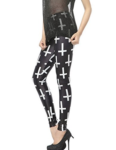 Skinny Aivtalk De fille Taille Imprimé Élastique Sexy Extensible 84cm Haute Multicolore Croix Mince Femme Optique Legging 58 Slim Pantalon Tour R5xawrFq5