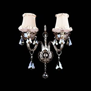 QIANG Grand Ivory Fabric Shades and Clear Crystal Formed Sparkling Two Light Wall Sconce