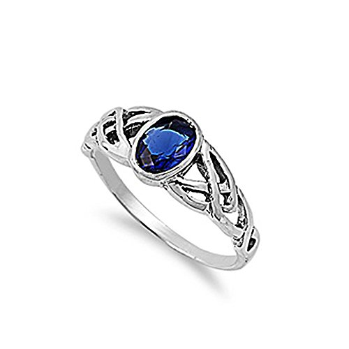 Sterling Silver Oval Dark Blue Cubic Zirconia CZ Celtic Ring - size 12