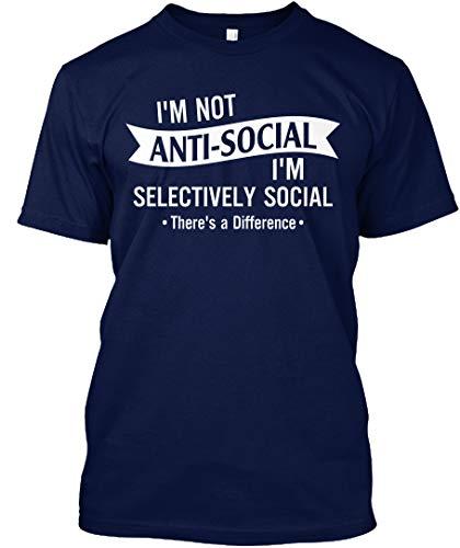 Im not Antisocial im Selectively Social. M - Navy Tshirt - Hanes Tagless Tee