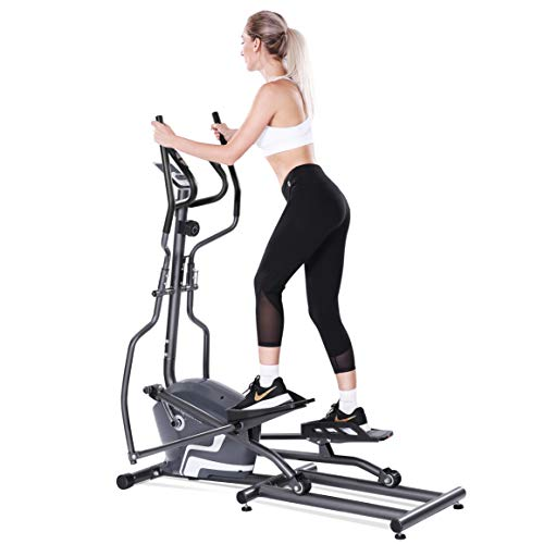 MaxKare Elliptical Machine Trainer Smooth Quiet Front Flywheel Driven 8-Level Magnetic Resistance with LCD Monitor and Pulse Rate Grip ()