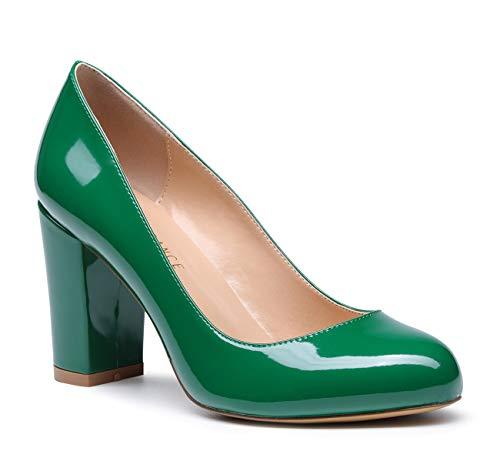 - SUNETEDANCE Women's Block Heel Pumps Round Toe Heels Sexy Elegant Slip-on Comfort Classic High Heels Office Business Shoes Patent Green Pump 7 M US