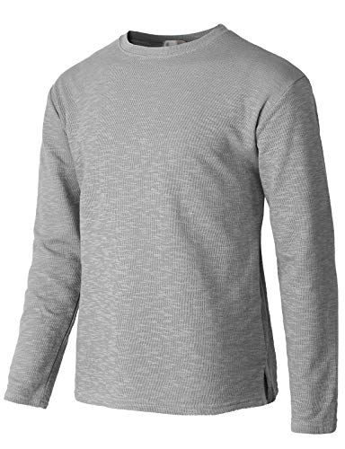 H2H Mens Casual Premium Slim Fit T-Shirts V-Neck Long Sleeve Cotton Blended Gray US L/Asia XL (KMTTL485)