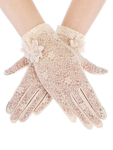 e2a171c6b SATINIOR Ladies Lace Gloves Elegant Short Gloves Courtesy Summer Gloves for  Wedding Dinner Parties (Skin Color 3)
