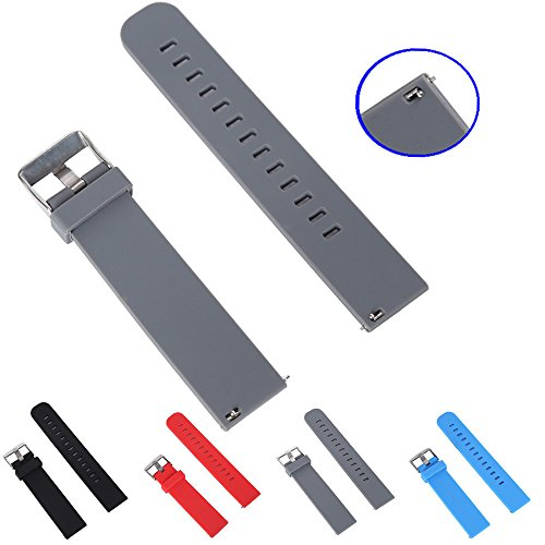 STYLELOVER Quick Release Silicone Watch Band 18mm 20mm or 22mm High Soft Rubber Watch Straps(20mm,Grey)