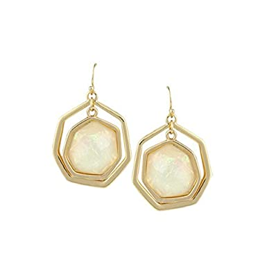 JewelCool Gold Plated Simulated Opal Hexagon Dangle Earrings HM HMSMLTOPLHEXBLU