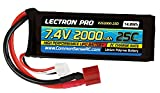 Lectron Pro 7.4V 2000mAh 25C Lipo Battery with Deans-Type Connector for 1/16 & 1/18 Scale Cars & Trucks