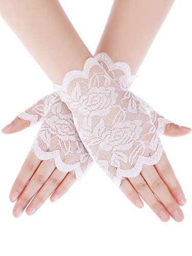(Skylety Sunblock Fingerless Bridal Lace Gloves Short Floral Gloves Wrist Length Wedding Dress Gloves for Prom Evening Wedding Party (White 2))