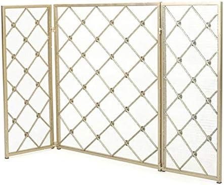 暖炉スクリーン シンプル 3パネル 暖炉スクリーン 保護スチールメッシュ付き &折りたたみパネル -家の装飾の火の場所の,、 スパークガードカバー、 幅125cm (Color : Gold)