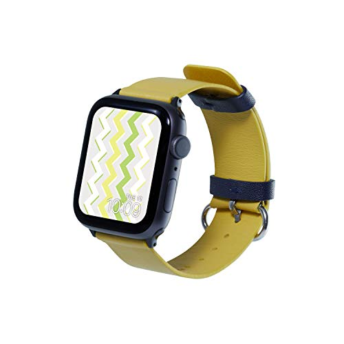 Mr. Time Ultra Thin Leather Band - Premium Genuine Leather Replacement Compatible with Apple Watch 42mm and 44mm Series 4, 3, 2, 1 [Easy to Install] - Yellow
