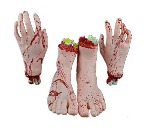 Halloween Decoration Haunted House Scary Fake Bloody Broken Severed Body Parts Prank Party Props (2 Pieces Feet & 2 Pieces Hands) -