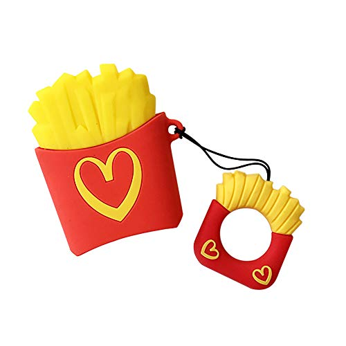 Food Airpods Case Keychain, Morenitor 3D Creative Cute Cartoon Silicone Shockproof Protective Cover and Skin with Finger Loop for Apple Airpods 1 2 Charging Case (French Fries Love)