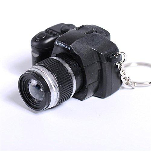 Cartoon Keychain - Inverlee Multi-function Lovely Mini LED Camera Key Chain Pendants Rings Chain Cartoon Women Car Bag Key Ring (Black)