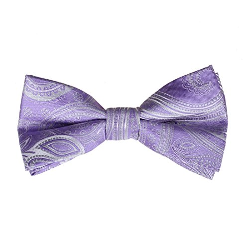 Formal Wear Mens Accessories (EBD1B01A Purple Patterned Pre-tied Formal Wear Accessories Business Microfiber Bowtie Luxury Valentines Presents For Mens By)