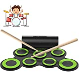 ORASANT Electric Drum Set, Roll Up Electronic Drum Set for Kids, Rechargeable Drum Pad Starter Practice Kit Allows Built-in Speaker and Headphone, Great Gift for Kids, Teens and Adults