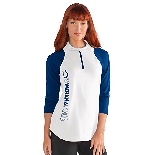 GIII For Her NFL Indianapolis Colts Women's Zip It Up 3/4 Sleeve Tee, Medium, White (Colts Womens Jerseys)
