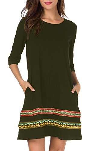 THANTH Womens 3/4 Sleeve A-Line Embroidered Loose Casual T-Shirt Tunic Dress ArmyGreen XL