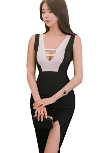 (Moon Market Women Sexy Sleeveless Deep V Neck Bodycon Dress Midi Knee Length Skirt Split (M) Tops Trousers Tube Tunic Vneck wear Tank Tight Tokyo)