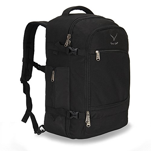 Hynes Eagle 40L Flight Approved Carry on Backpack (Black-N)