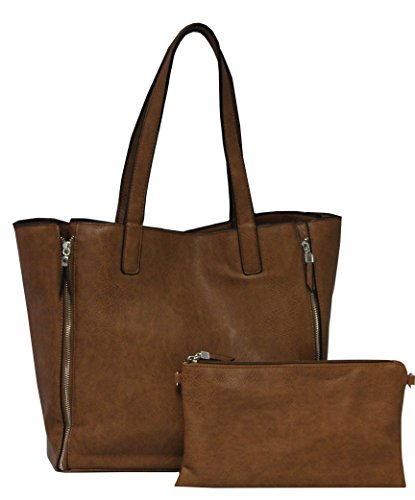 K.Carroll Accessories Women's Front Zipper Carry All Tote with Organizer Bag Included Brown