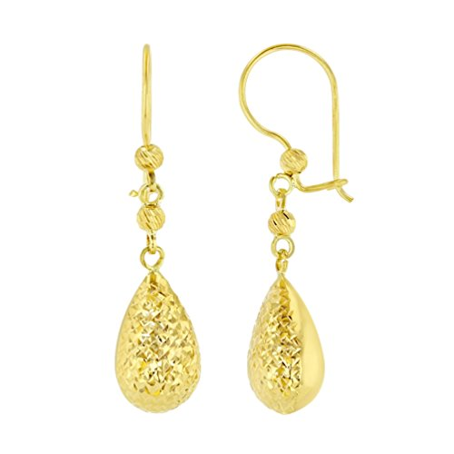14k Yellow Gold Textured Teardrop Dangle Drop Earrings, 7.2mm by Jewelry America
