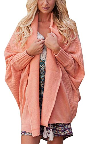 Colore Primaverile Ruvida Elegante Puro Abbigliamento Fashion Forcella Pipistrello A Outerwear Aperto Autunno Giacca Cappotto Donna Huixin Pink Maglia Vintage Manica qT7UIw8vPn