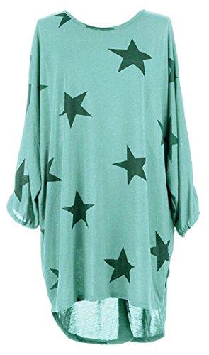 Print Sleeve Womens Neck Hi Lake Blue Cromoncent Low Dress Round Blouse Long Plus Size 4aq4tZ