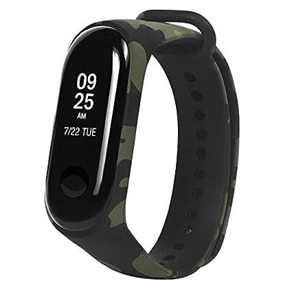 Alftek Correa de Reloj Deportivo para Xiaomi Band 3 Accesorios de reemplazo de Camuflaje Strap Bracelet