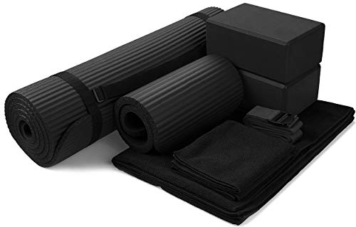 BalanceFrom GoYoga 7-Piece Set - Include Yoga Mat with Carrying Strap, 2 Yoga Blocks, Yoga Mat Towel, Yoga Hand Towel, Yoga Strap and Yoga Knee Pad (Black, 1/2