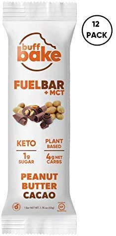 Buff Bake Fuel Bar MCT KETO FRIENDLY Plant Based Non-Dairy Vegan 12g of Protein 1g Sugar 4g Net Carbs Gluten Free 12 Count, 50g Peanut Butter Cacao, 12 Count