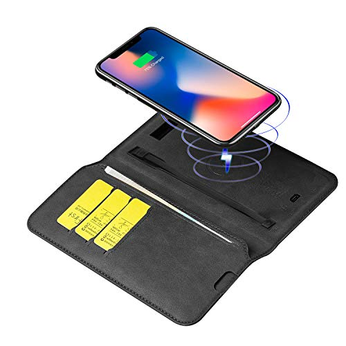 6800mAh Qi Wireless Phone Charger Power Bank with PU Leather Wallet, Anti-Lost Card Case Mobile Phone Charger for Smartphone (Black) ()