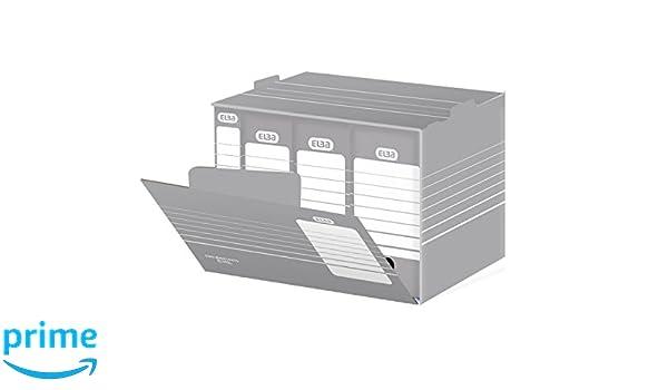 Elba 83421 - Caja de almacenamiento para archivadores, cintas y cajas (10 unidades), color gris y blanco: Amazon.es: Oficina y papelería