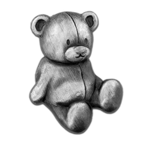 PinMart's Antique Silver Teddy Bear Stuffed Animal Lapel Pin by PinMart