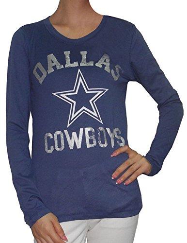 Womens Pink Victoria's Secret NFL Dallas Cowboys Slim Fit Shirt L Dark Blue