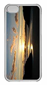 iPhone 5C Case, Personalized Custom Beach Scene Sunrise 4 for iPhone 5C PC Clear Case