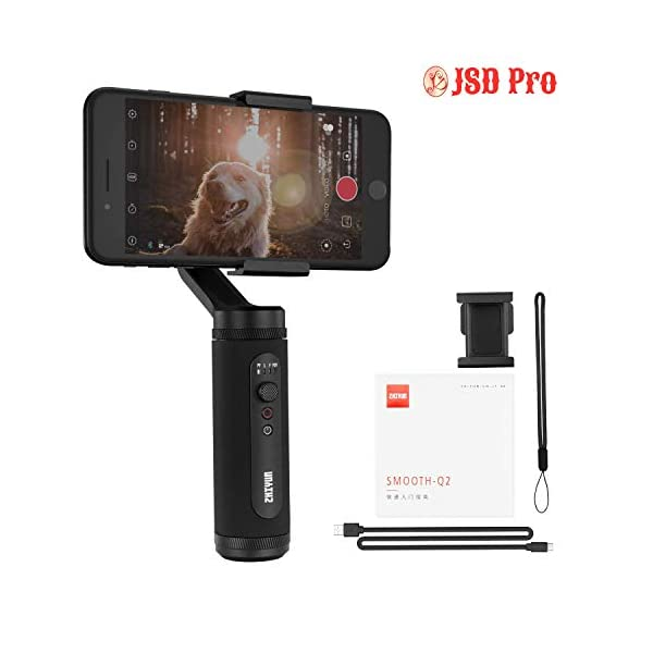 JSD PRO Zhiyun Smooth-Q2 (Official Dealer) 3-axis Smartphones Gimbal Stabilizer,POV Mode, 260g Payload, Zhiyun-Smooth-Q2-phone-gimbal-stabilizer 1