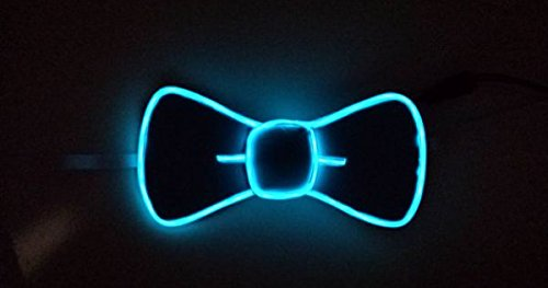 [EL Wire Light Up Party Fashion Tie Bow Ties - Various Colors by Mammoth Sales (Light Blue)] (Super Easy Last Minute Halloween Costumes)