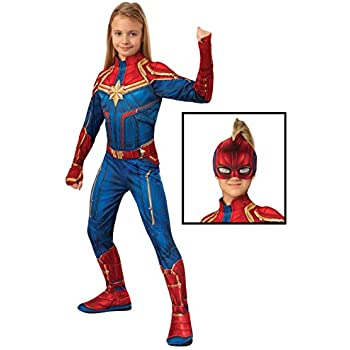 Captain Marvel Hero Costume Suit, Large Blue/Red