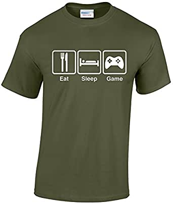 EatSleepTee Men's Eat Sleep Game T-Shirt Gamer Gaming Tee 3x-Large Military Green