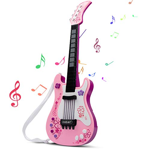 SAOCOOL Kids Guitar, Electric Guitar for Girls with Colored Lights Effect, No String Multifunction Musical Guitar Educational Toy for Girls and Boys (Pink)