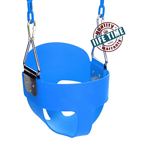 Ancheer Toddler Swing Seat High Back Full Bucket Swing Seat with 60-inch Coated Chain and Two Snap Hooks -Swing Set Accessories (Blue)