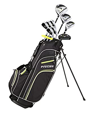 Precise M3 Men's Complete Golf Clubs Package Set Includes Driver, Fairway, Hybrid, 6-PW, Putter, Stand Bag, 3 H/C's - Right Handed - Regular or Tall Size