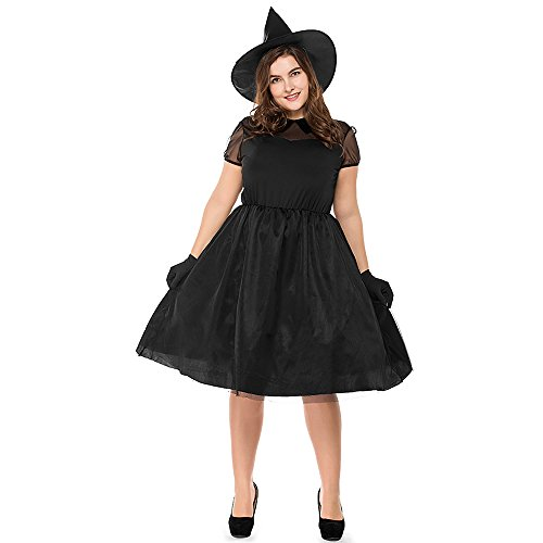 COUTUDI 5pcs Womens Bewitching Witch Costume for Halloween Christmas Party Plus -
