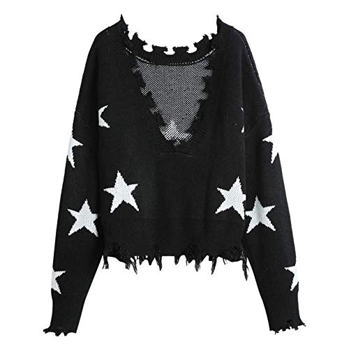ZAFUL Women's Solid V Neck Loose Sweater Long Sleeve Ripped Jumper Pullover Knitted Crop Top (Black-Star) ()