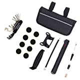 Bicycle Repair Bag,16 in 1 Kits Bike Maintenance Fix Tools with Mini Pump,emergency bike tire patch repair box for Outdoor Camping Home Essential