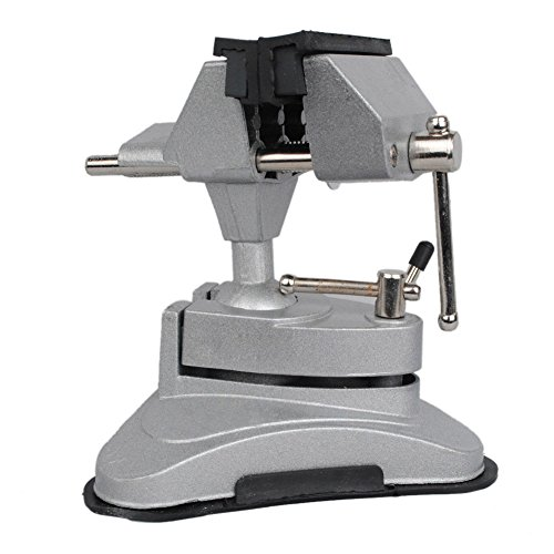Hobby Mini Vice with 360° Swiveling Head and Powerful Suction Mounting Mechanism and Soft Jaws for Craft, Model ()