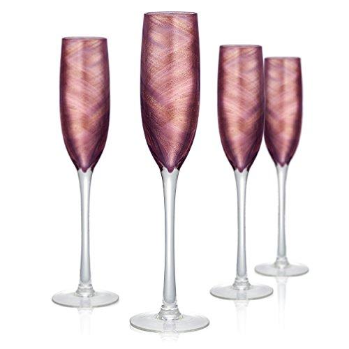 Artland 14732B Misty Flute Glass, Set Of 4 5 oz Purple -