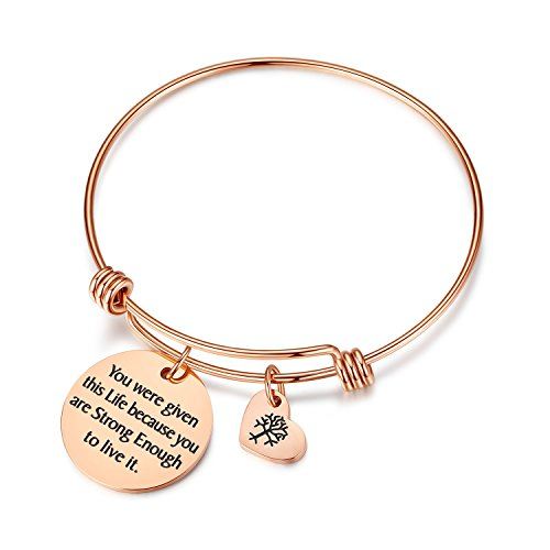 Women Girls Jewelry You were Given This Life Because You are Strong Enough to Live it Bracelet with Heart Tree of Life for Women, for her mom Friends Sister Teacher (Given-Rose Gold)