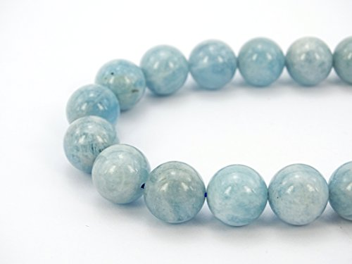 - jennysun2010 Natural Aquamarine Gemstone 6mm Smooth Round Loose 60pcs Beads 1 Strand for Bracelet Necklace Earrings Jewelry Making Crafts Design Healing