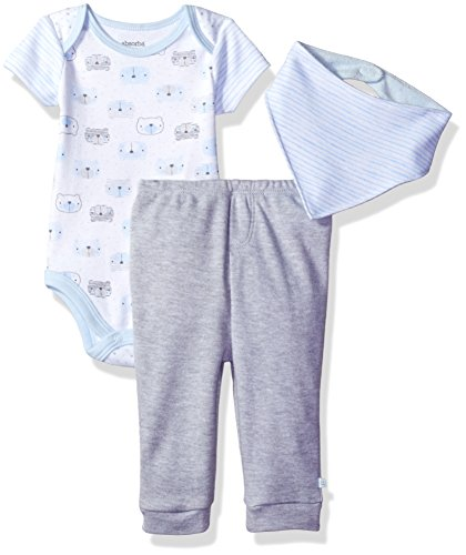 absorba Baby Boys 2 Pieces Bodysuit Pant Set with Bib, Blue/Grey, 3/6 ()